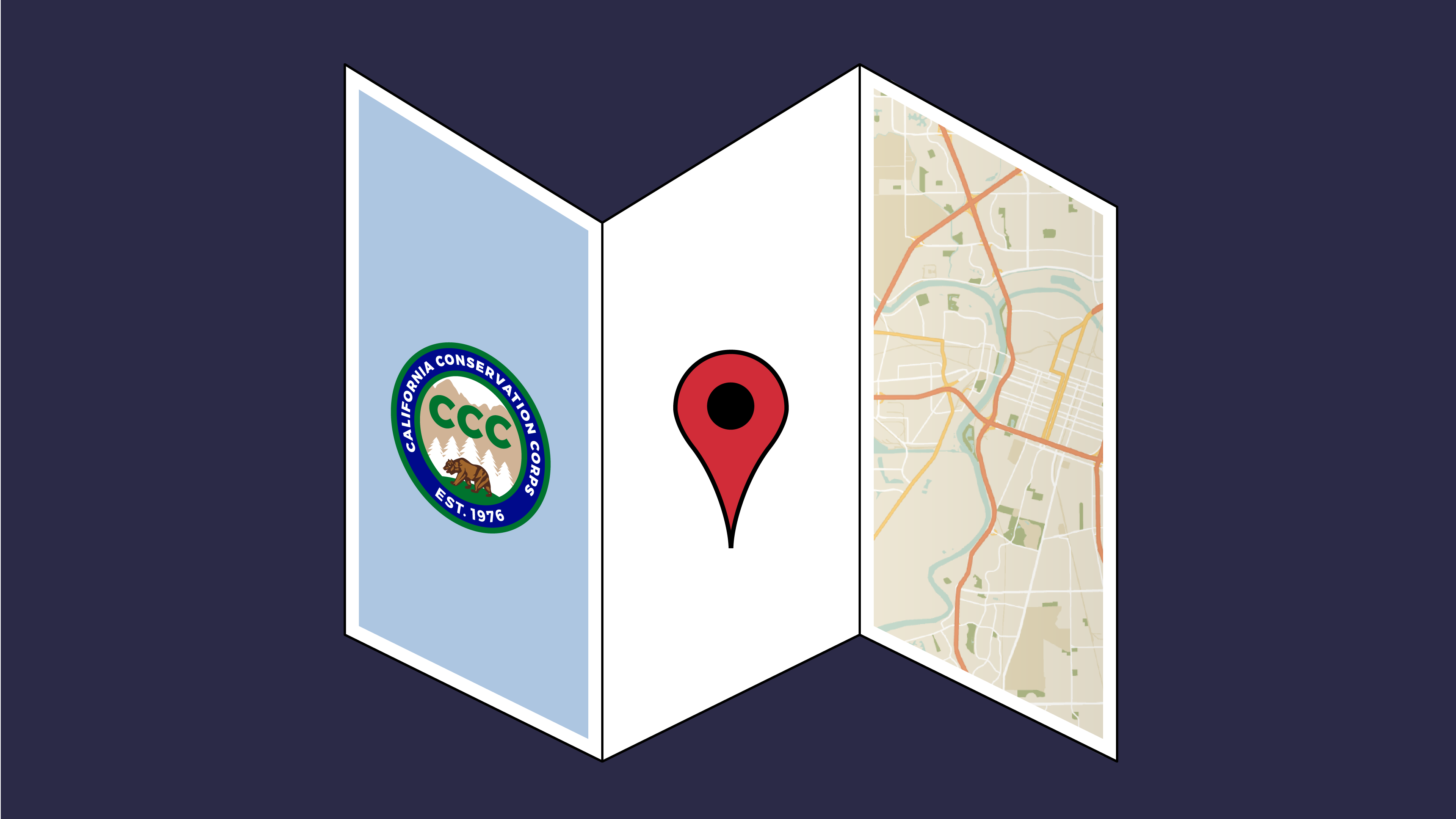 Image illustration of CCC logo and a map on a trifold brochure