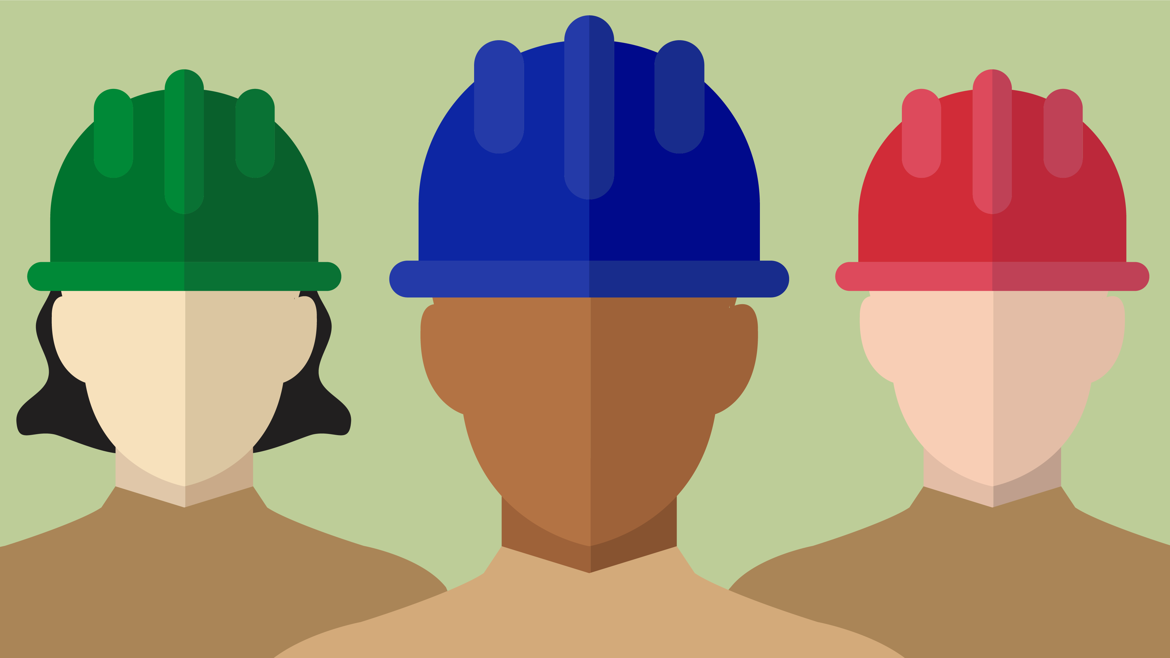 Hire a Crew illustration. Depicts generic Corpsmembers in blue, green and red helmets.