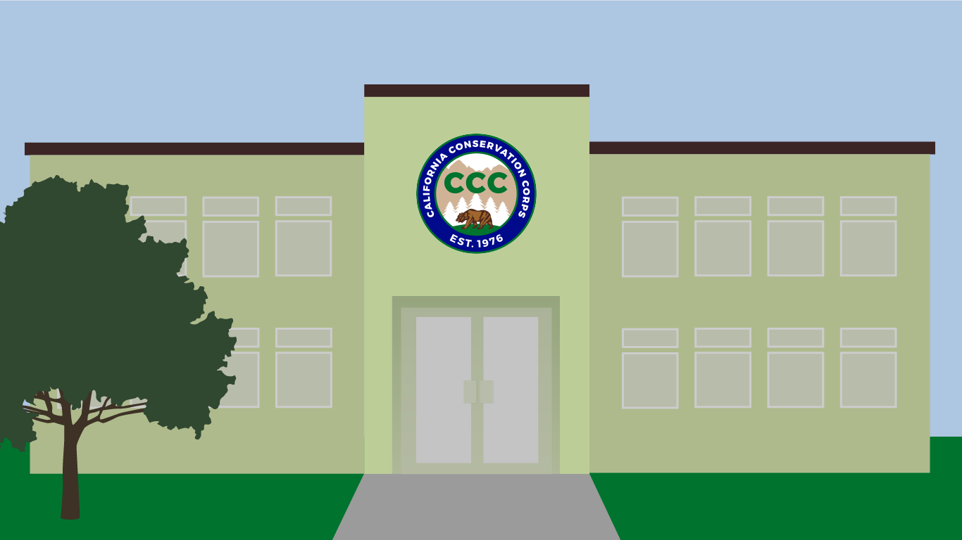 Image illustration featuring generic building with CCC logo and a tree out front