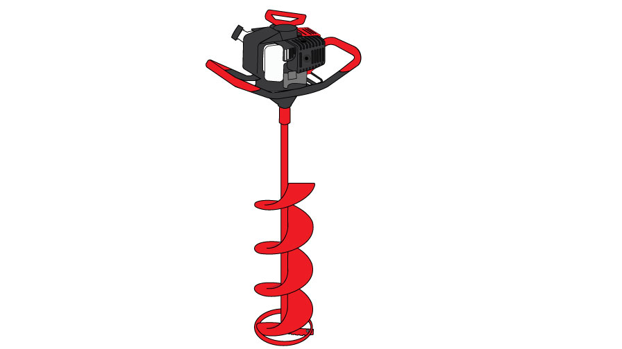 Graphic of an auger. It has a motor with two large handles. The motor rotates a large twisting metal bit.