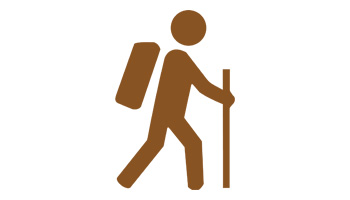 Image illustration depecits animated person with backpack and walking stick.
