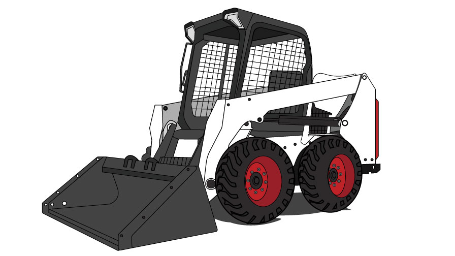 Graphic of a Bobcat skid-steer loader with a general purpose bucket on the front.