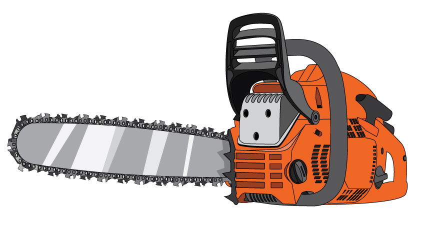 Graphic of a chainsaw with an orange engine and standard chain.
