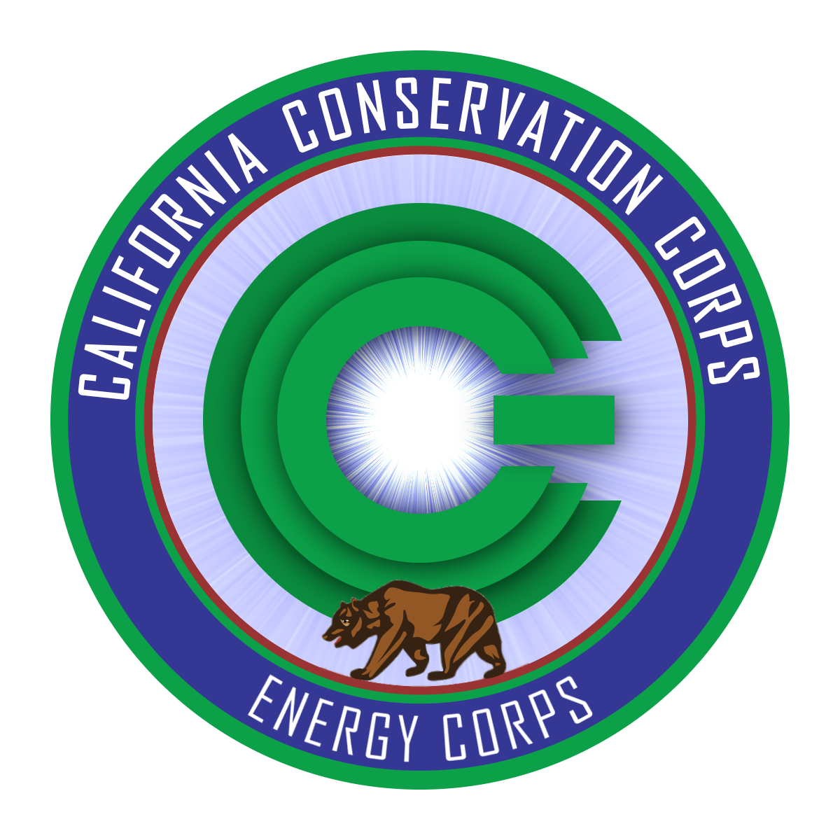 CCC Energy Corps logo. Reads: California Conservation Corps Energy Corps. Image depicts CCC as a computer power button, with light emanating from the center and a grizzly bear walking inside a circle.
