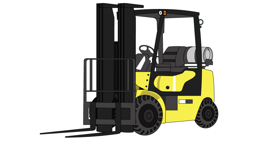 Graphic of a yellow forklift, with the pronged lift resting low.