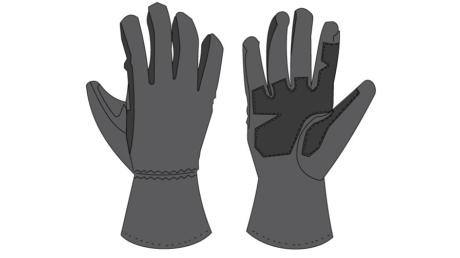 Graphic of grey sturdy work gloves with protective reinforcement along the palms and fingers.