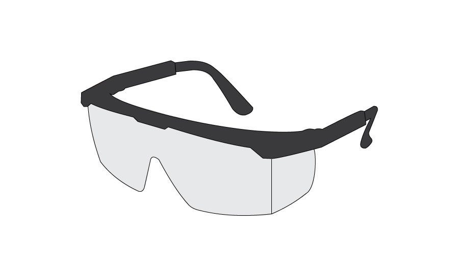 Graphic of protective, safety glasses with side shields.