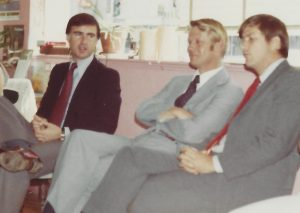 Image, left to right on couch is Gov. Jerry Brown, LeRoy Chatfield and Buck Hornor