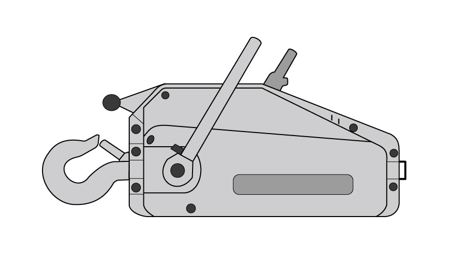 Graphic of a griphoist, a smell, boxy manual winch with a hook on one end and an arm on the side.