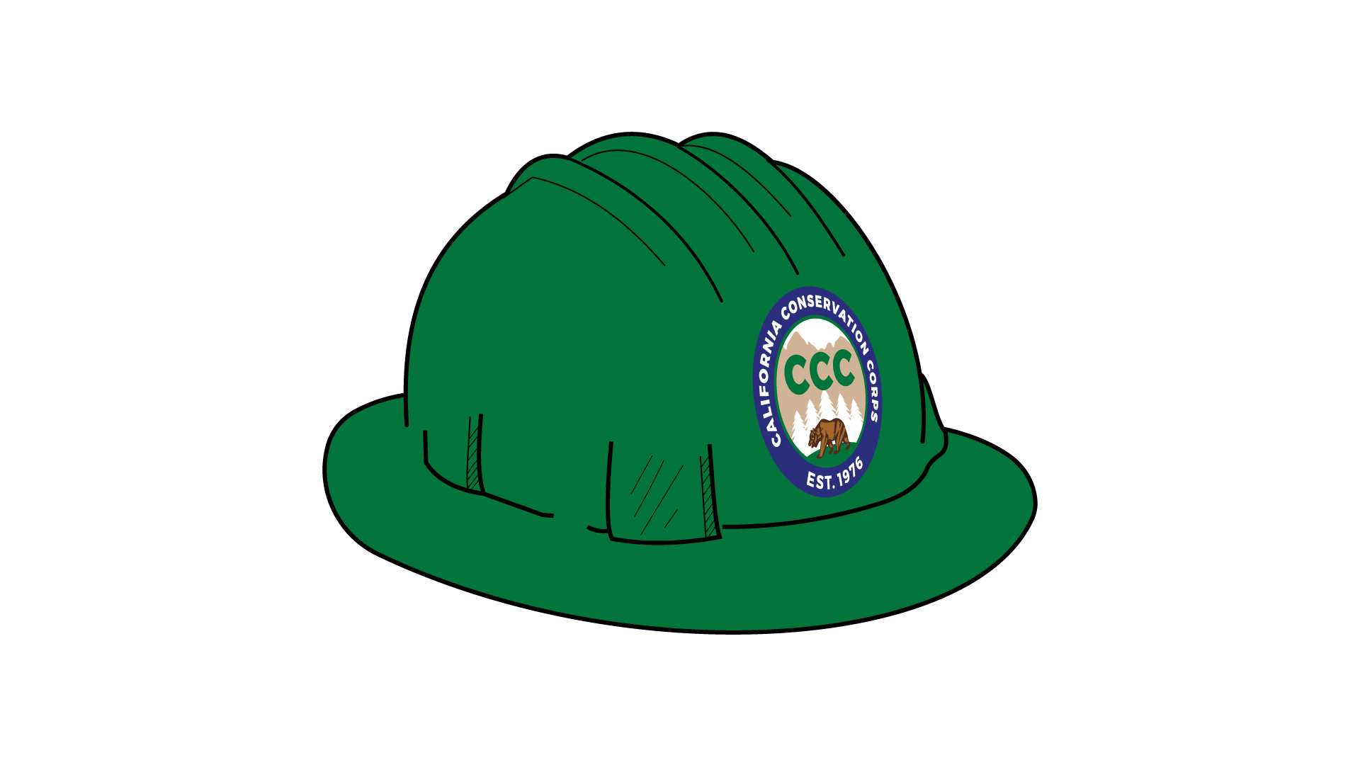 Graphic of a green hard hat with the CCC logo on the front.