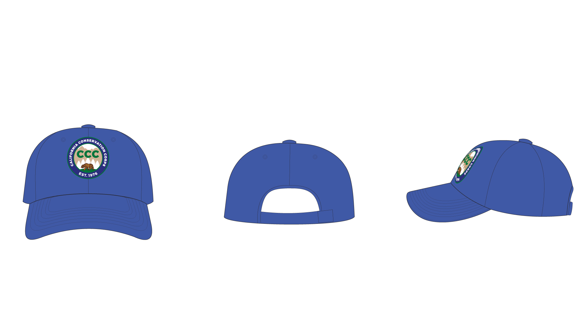 Graphic shows a blue soft hat, baseball cap style, with the CCC logo on the front.