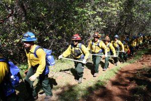 Corpsmembers in fire gear hike along trail