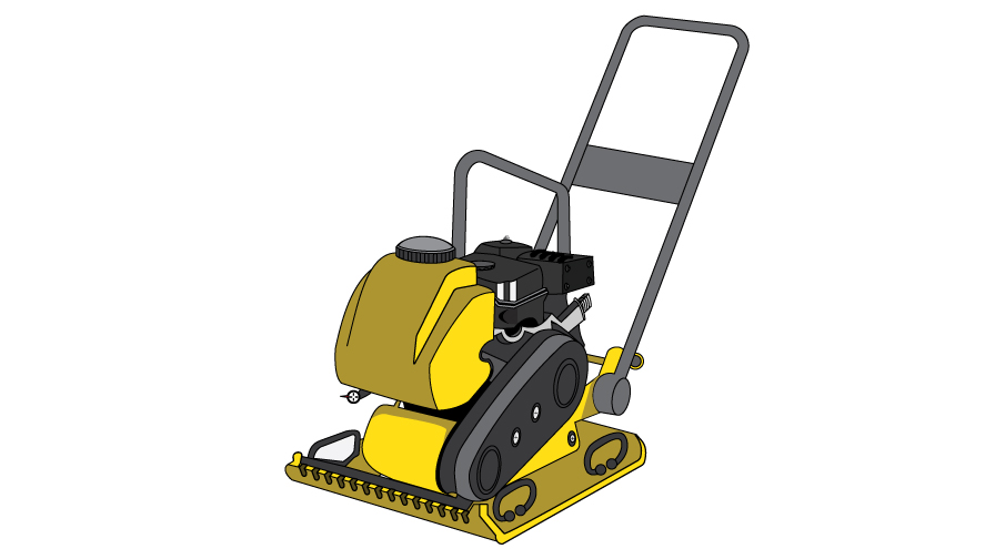Graphic of a plate compactor or vibroplate. has an engine with a push-bar similar to a push lawn mower, but below the engine is a flat metal plate.