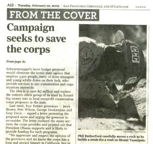 "Photo of news clipping from the San Francisco Chronicle, headline reads ""Campaign seeks to save the corps"""