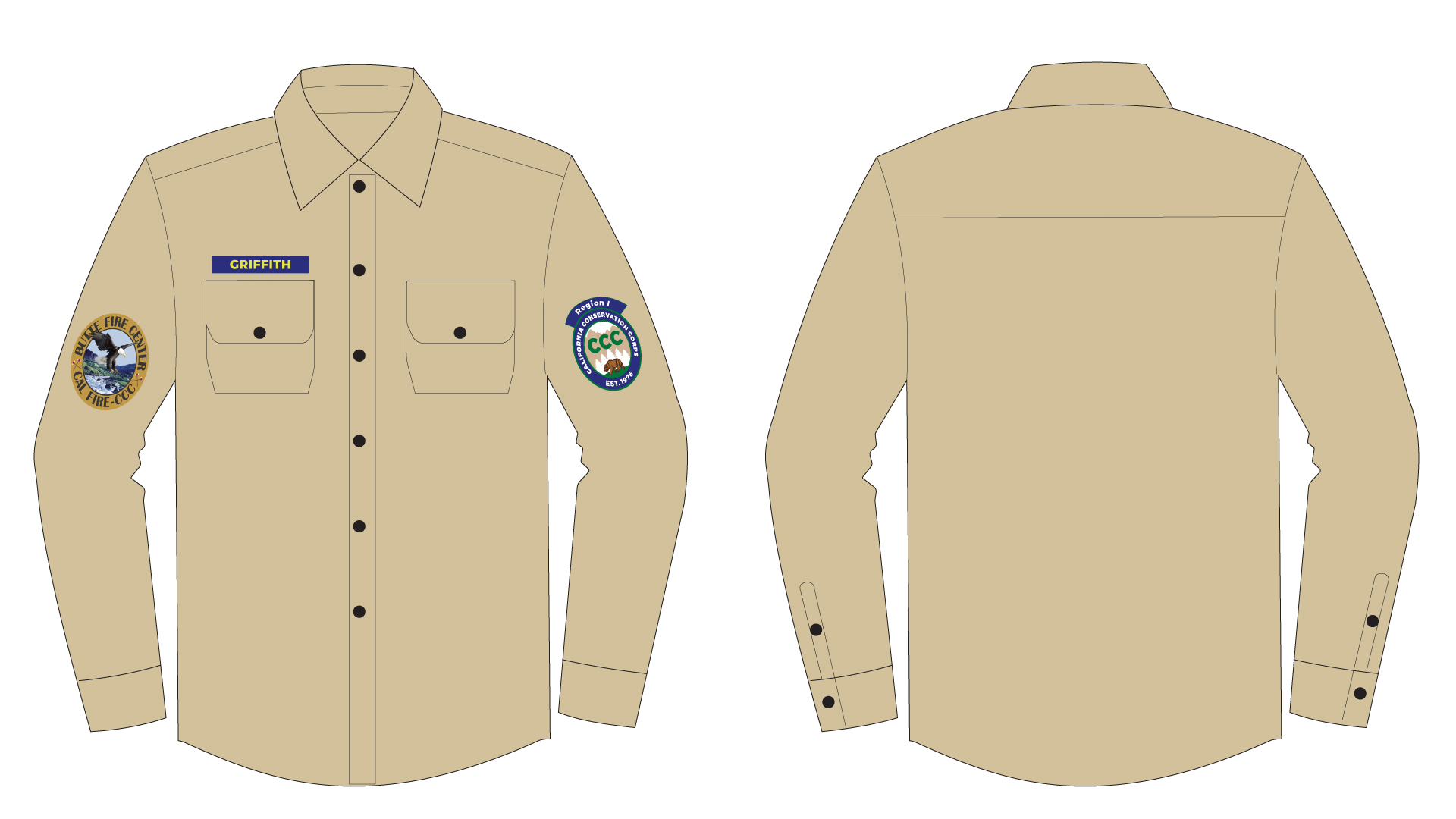 A graphic of the CCC shirt uniform. It is a brown collared button-down longsleeve shirt. The CCC logo patch is on the shirt's left arm. The Center patch is on the right arm. There is a nametag over the right breast pocket.