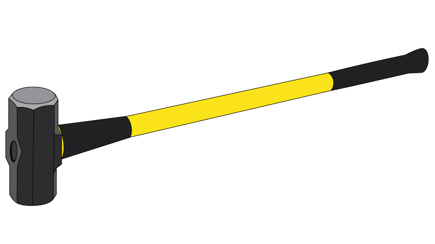 Graphic of a large metal headed sledgehammer with a yellow handle.