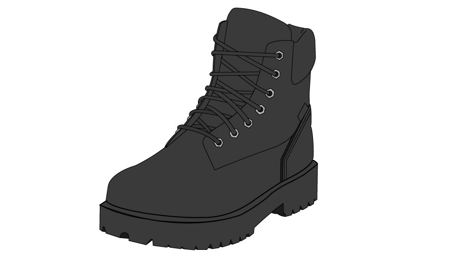 Graphic of black lace-up boots with thick soles.