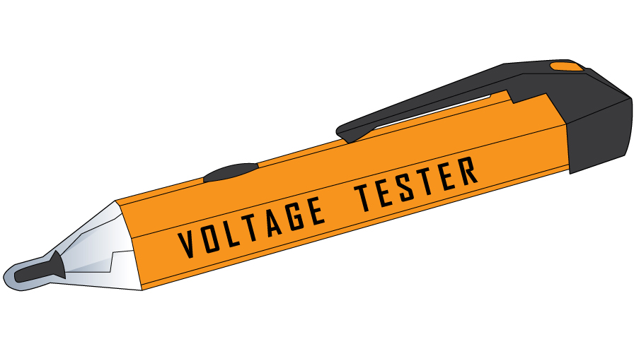 Graphic of a yellow voltage tester. It is rectangular with a fat pyramidal tip from which extends the sensor. The device has a pocket clip.