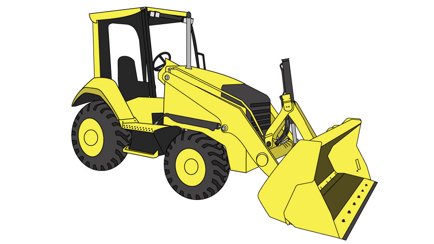 Graphic of a yellow skip loader: a tractor front loader machine.