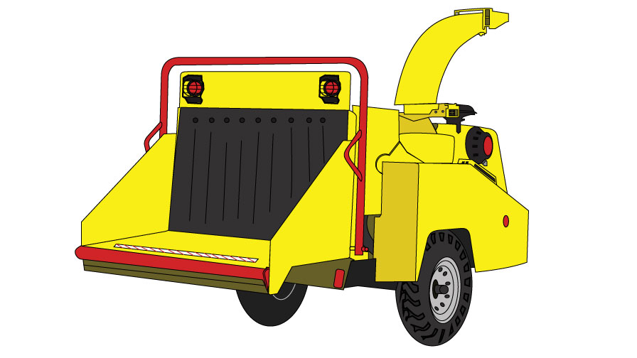 Graphic of a yellow woodchipper. On the front is the infeed hopper where wood is fed in and in the back is the tall and curved discharge chute which spits out the woodchips.