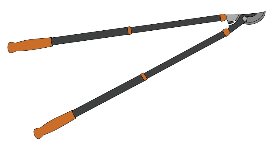 Graphic of orange-handled loppers, which are long-handled plant shears.