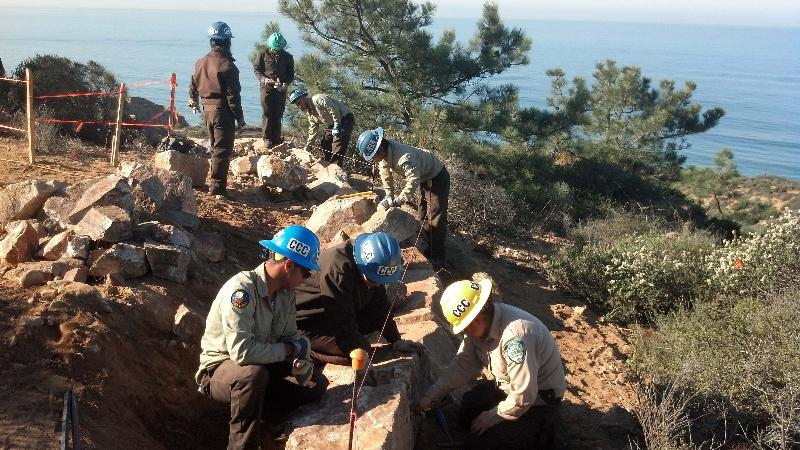 CCC Crews working on trails at Torey Pines State Park.