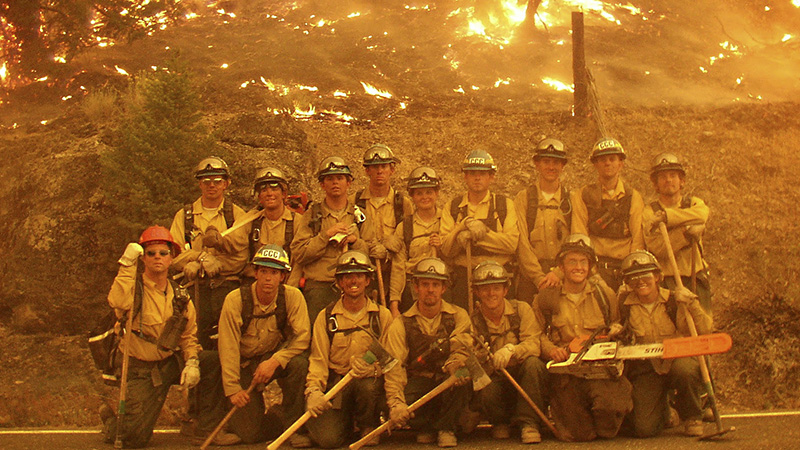 Firefighting crew posing for a photo.
