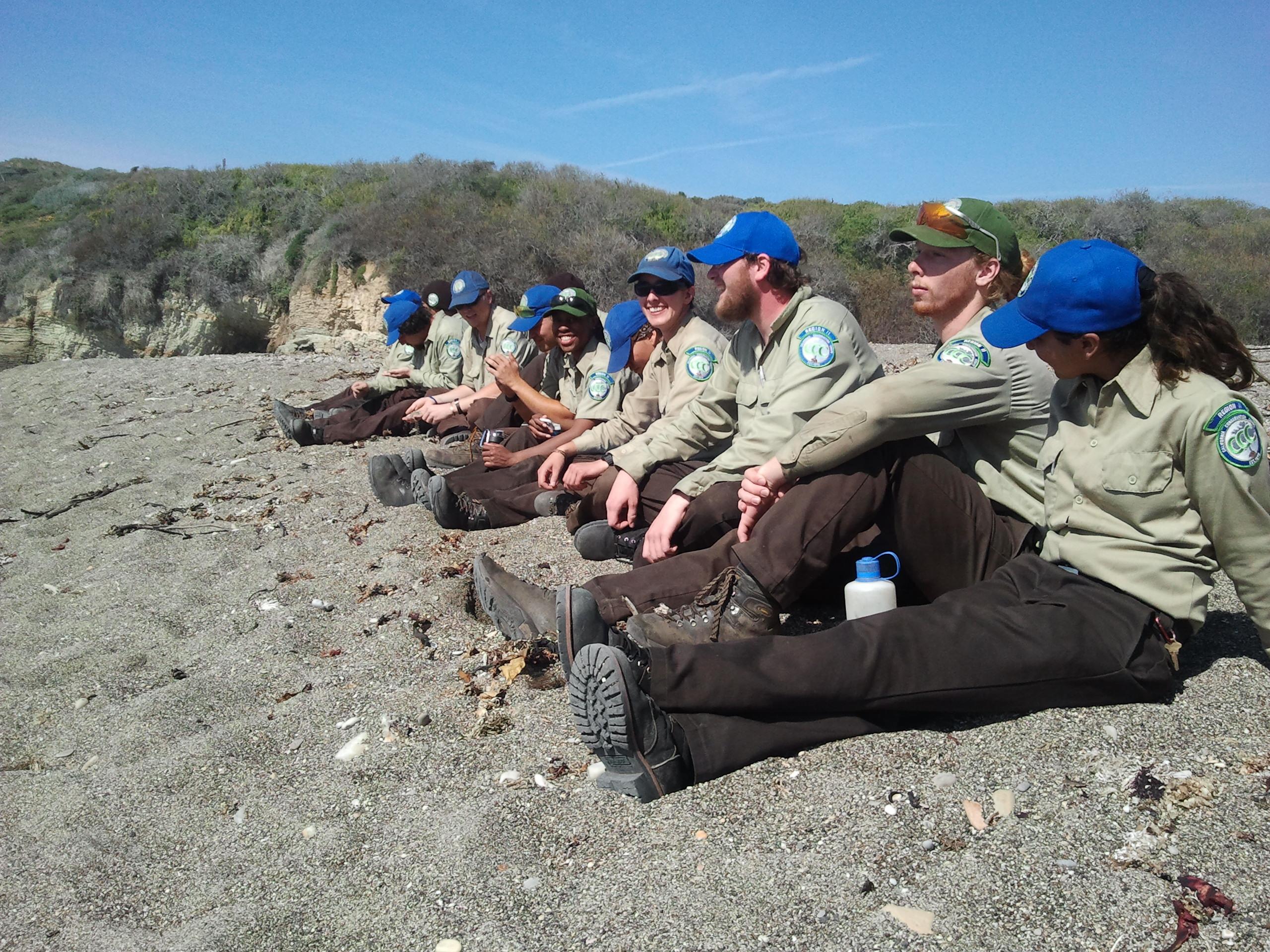 Crew enjoying their lunch break.