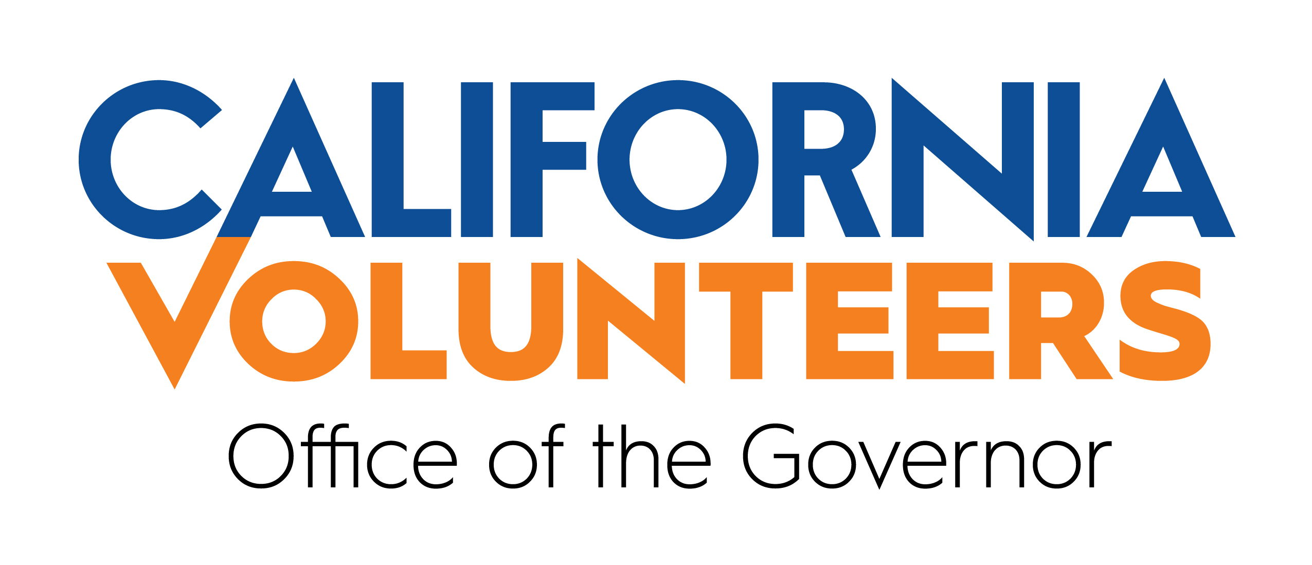 California Volunteers logo. Logo is only text, reading California Volunteers, Office of the Governor