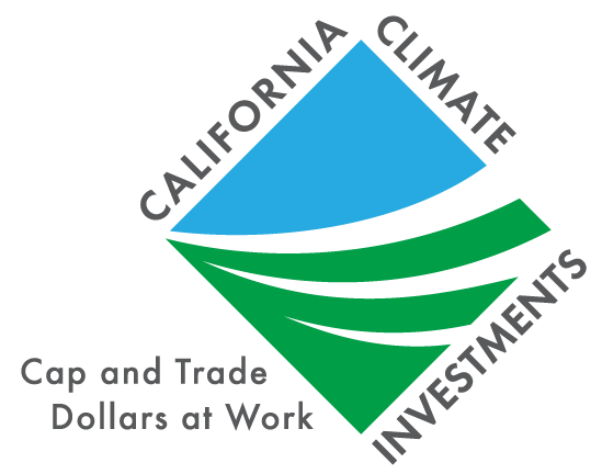 California Climate Investments logo. Reads, California Climate Investments, Cap and Trade Dollars at Work. Image depicts blue sky and green grass in a square surrounded by the words.