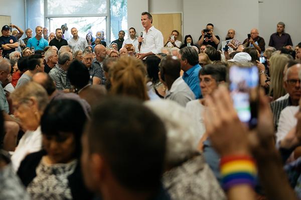 Governor Newsom speaks to audience
