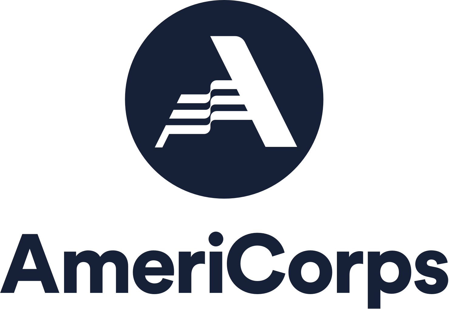 AmeriCorps logo. Reads: AmeriCorps. Image depicts white A logo inside blue sphere with words AmeriCorps below.