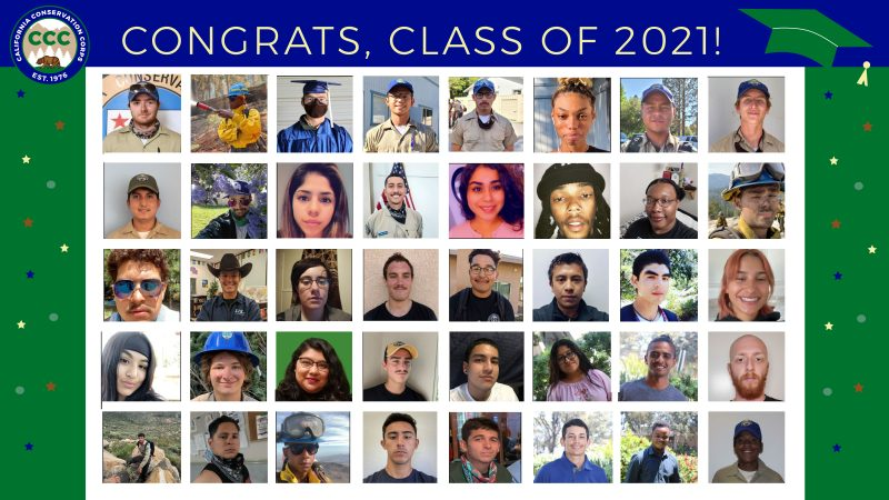 Illustration reads Congrats class of 2021 and features pictures of graduating Corpsmembers