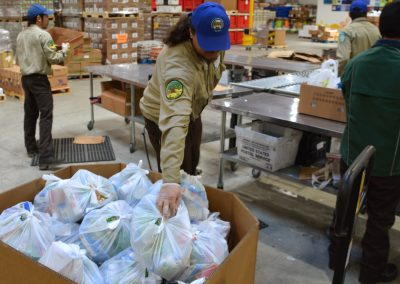 Solano Corpsmember Delivers Assembled Meal Bag
