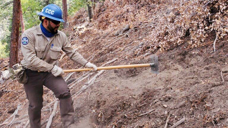 male corpmember in ppe uses mcleod to rake ground debris around burn pile